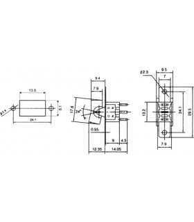 Intrerupator ROCKER SP3T ON-OFF-ON 3A 250VAC Pozitii 3 neagra fara 20mOhm NINIGI RSL-103A1