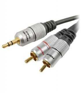 Cablu Jack 3.5mm mufa tata - RCA mufa tata x2 15m negru PROLINK