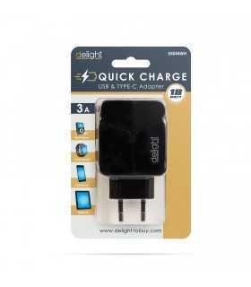 Adaptor incarcator QuickCharge 3.0 de retea USB +USB Type C PD18W cu incarcare rapida negru delight