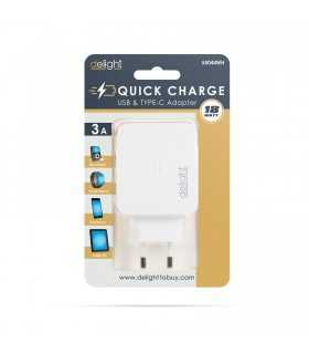 Adaptor incarcator de retea USB +USB Tip C PD18W QuickCharge 3.0 cu incarcare rapida alb delight