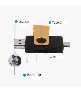 CARDRW OTG 3IN1 USB3.1 USB3.0 UUSB SD+TF MAX.256GB