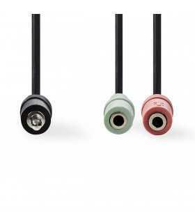 Adaptor audio pentru casti Jack 3.5mm tata - 2x 3.5mm mama 0.2m negru NEDIS