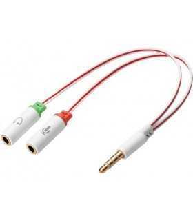 Adaptor Jack audio pentru casti 3.5mm tata - 2x3.5mm mama casca +microfon Sandberg 508-59