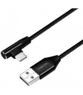 Cablu USB 2.0 A mufa - USB Type C mufa in unghi 1m negru LOGILINK CU0138