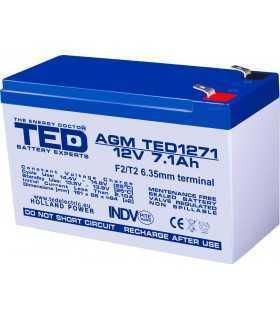 Acumulator AGM VRLA 12V 7.1A 151x65x95mm F2 TED Battery Expert Holland