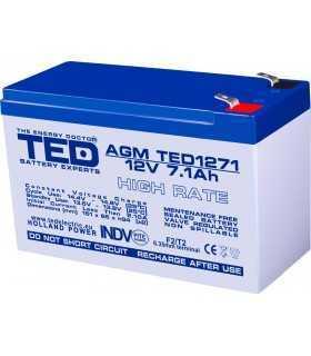 Acumulator AGM VRLA 12V 7.1A High Rate 151x65x95mm F2 TED Battery Expert Holland