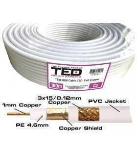 Cablu COAXIAL 75ohm RG6 FULL CUPRU +tresa CUPRU TED Wire Expert
