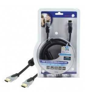 Cablu HDMI tata - HDMI tata High Speed cu Ethernet 3m HQ