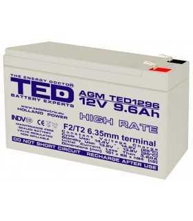 Acumulator AGM VRLA 12V 9.6A High Rate 151x65x95mm F2 TED Battery Expert Holland