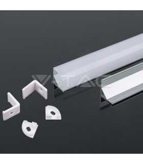 Profil aluminu rotunjit pentru banda LED 2m 15.8mm x 15.8mm V-TAC