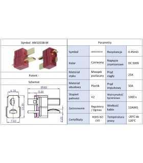 Mufa alimentare DC AM-1015 tata PIN 2 pe cablu lipite 25A AMASS AM1015B-M