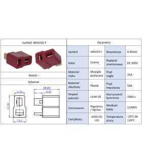 Mufa alimentare DC AM-1015 mama PIN 2 pe cablu lipite 25A AMASS AM1015-F