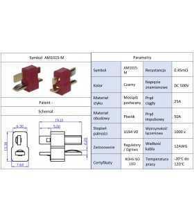 Mufa alimentare DC AM-1015 tata PIN 2 pe cablu lipite 25A AMASS AM1015-M