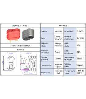 Mufa alimentare DC AM-1015 mama PIN 2 pe cablu lipite 25A AMASS AM1015E-F