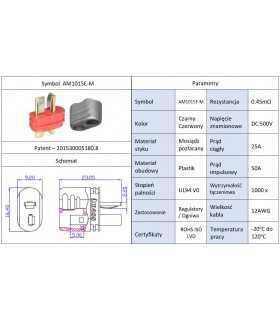 Mufa alimentare DC AM-1015 tata PIN 2 pe cablu lipite 25A AMASS AM1015E-M