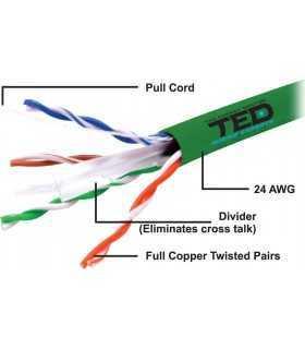 Cablu UTP cat6 cupru integral 0.5 24AWG culoare verde TED Wire Expert
