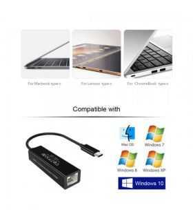 Cablu adaptor USB Type Type C tata - RJ45 mama retea Gigabit Choetech R01