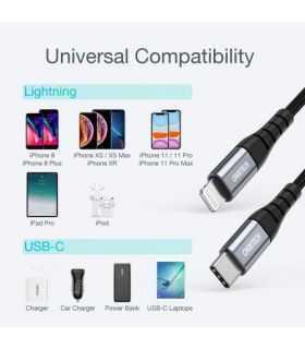 Cablu USB Type C - Lightning MFi 1.2m negru Choetech IP0039