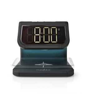 Ceas cu alarma Nedis incarcator wireless certificat Qi iluminare multicolora negru