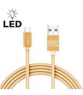 Cablu de date si incarcare USB Type C cu lumina LED auriu 1m Delight