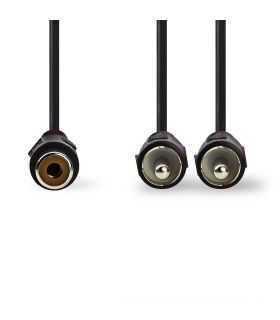 Cablu Subwoofer Nedis 2x RCA tata - RCA mama 0.2m negru
