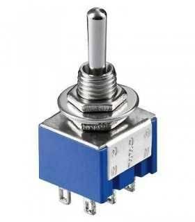 Comutator 2x ON-OFF-ON 6 pini 3A 250V 12.5x11.5x9.5mm Goobay