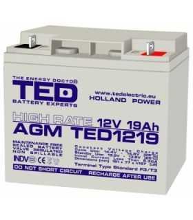 Acumulator TED 12V 19Ah High Rate AGM plumb acid 181mm x 76mm x h167mm TED1219HRF3