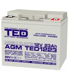 Acumulator 12V 23A AGM VRLA High Rate 181x76x167mm M5 TED Battery Expert Holland TED1223HRM5