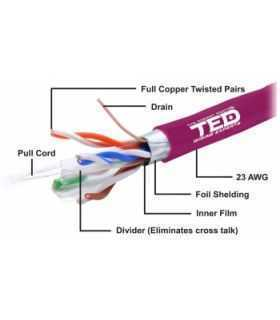 Cablu FTP cat6 cupru integral 0.56 23AWG E30/E90 LSZH FLUKE PASS violet TED Wire Expert