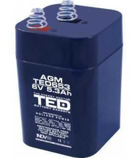 Acumulator AGM VRLA 6V 5.3A dimensiuni 67mm x 67mm x h 97mm cu arcuri tip 4R25 TED Battery Expert Holland