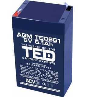 Acumulator AGM VRLA 6V 6.1A dimensiuni 70mm x 48mm x h 101mm F1 TED Battery Expert Holland
