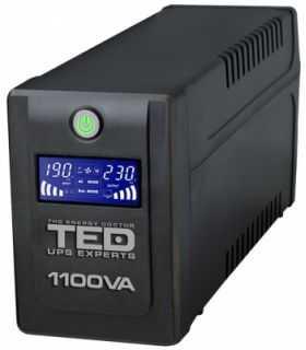 UPS 1100VA LCD Line Interactive cu stabilizator 4 iesiri schuko TED UPS Expert
