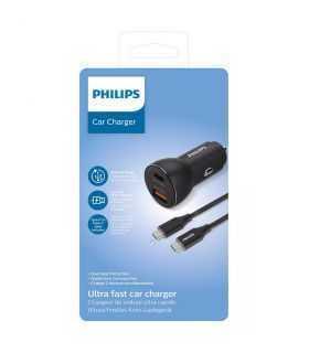 Incarcator auto USB-A SI USB TYPE C 36W 12–24VDC + cablu 1m USB-C la C PHILIPS DLP2521C