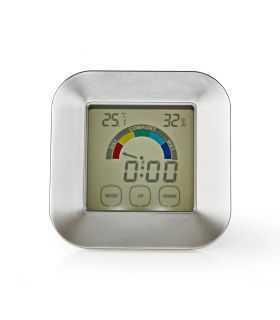 Termohigrometru digital cu ceas si ecran tactil Nedis KATR105S