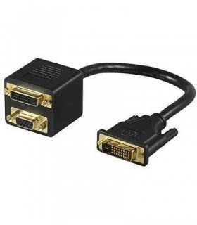 Cablu adaptor DVI-I la DVI-I mama si VGA mama Goobay