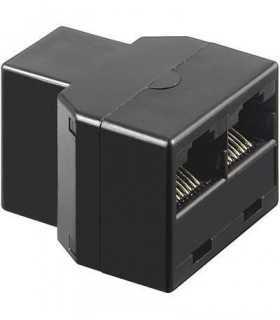 Adaptor 8p8c ISDN RJ45 mama la 2x RJ45 mama negru Goobay