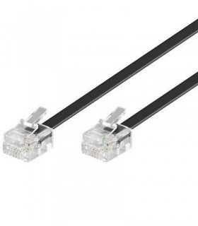 Cablu telefon 3m RJ11 6P4C negru Goobay