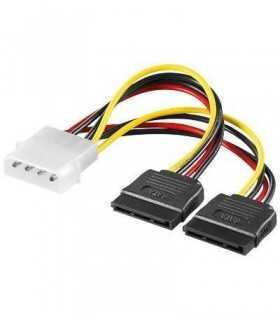 Cablu adaptor 2x Sata la Molex 5.25 4 pini tata 15cm Goobay