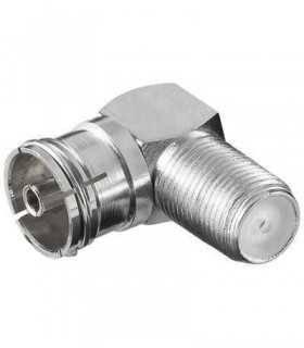 Adaptor F la coaxial 90 grade mama din metal Goobay
