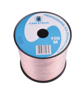 Cablu difuzor CCA 2x0.20mm transparent 100m Cabletech