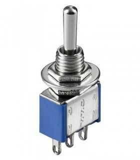 Comutator ON-OFF-ON 3 pini cu retinere 12.5x6.5x9.5mm 3A 250V MTS-1 Goobay