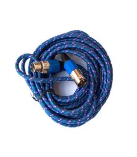Cablu microfon XLR mama-tata 3m textil albastru Cabletech