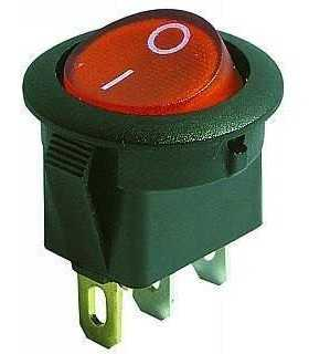 Intrerupator 3 poli 1 buton rosu ON-OFF rotund 20mm 6.5A 250V