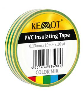Banda izolatoare 0.13x19mm 10m verde/galben Kemot