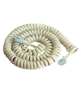 Cablu telefonic RJ10 spiralat 2.1m alb