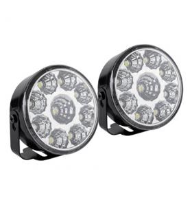 Lumini LED auto de zi 12V 9x 0.5W set 2buc 6000K diametru 70mm