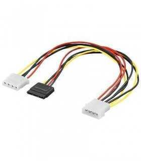 Cablu adaptor sata la 2x Molex 5.25 mama si tata 30cm Goobay
