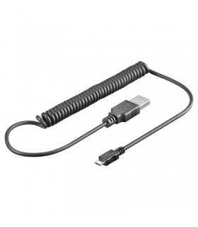 Cablu spiralat USB la micro USB 1m Goobay