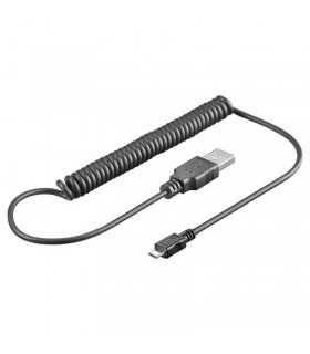 Cablu spiralat Usb la microUSB 1m
