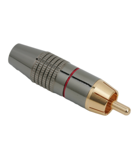 Mufa RCA contact aurit cablu 6mm cu inel rosu